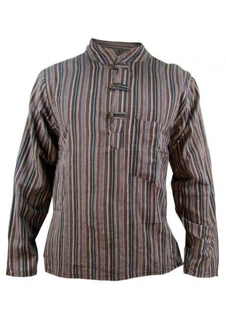Brown Striped Grandad Shirt