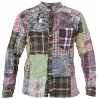 Check Patchwork Winter Button Down Shirt