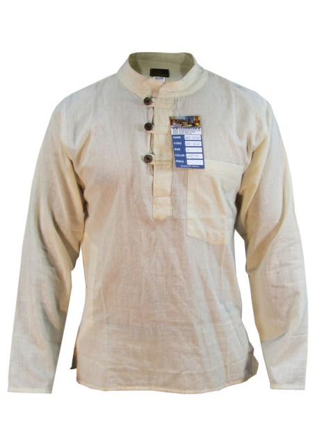 Plain Cream Grandad Shirt