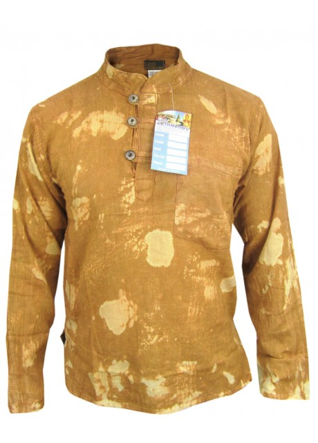 Gold Stonewashed Grandad Shirt
