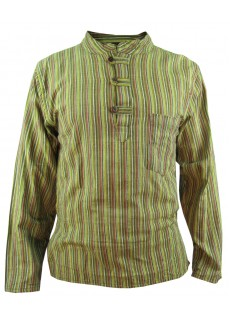 Green Striped Grandad Shirt