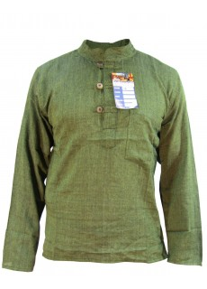 Plain Green Grandad Shirt