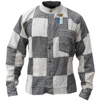 Pin Stripe Grey Black Patchwork Button Down Shirt