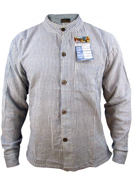 Light Blue Full Button Collarless Shirt