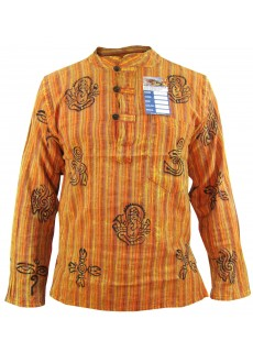 Orange Stonewashed Grandad Shirt