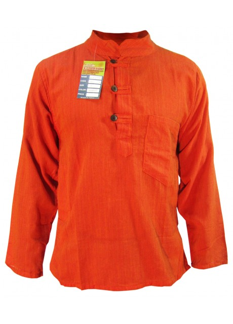 Plain Orange Grandad Shirt