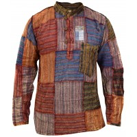 Patchwork Overlock Stonewashed Stripey Collarless Shirt