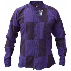Pin Stripe Purple Black Patchwork Button Down Shirt