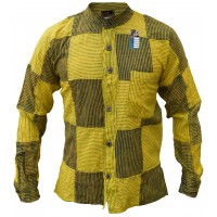 Pin Stripe Yellow Black Patchwork Button Down Shirt