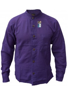 Purple Full Button Collarless Shirt