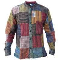 Patchwork Stonewashed Stripey Full Button Shirt