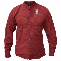 Red Full Button Collarless Shirt