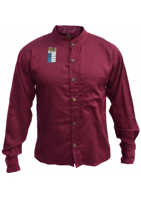 Plain Maroon Light Cotton Grandad Shirt