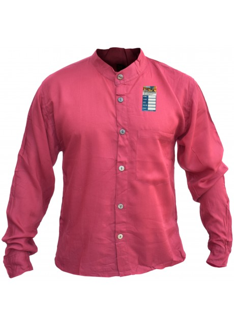 Plain Red Light Cotton Grandad Shirt