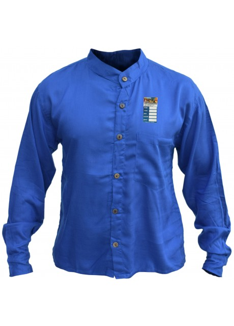 Plain Deep Blue Light Cotton Grandad Shirt