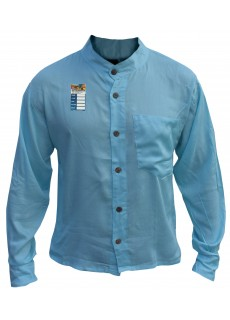 Plain Baby Blue Light Cotton Grandad Shirt