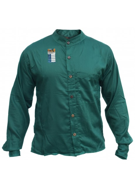 Plain Green Light Cotton Grandad Shirt
