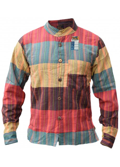 Patchwork Stripey Colorful Button Down Shirt