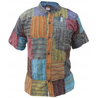 Patchwork Stripey Short Sleeve Shirt