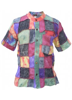 Tiedye Patchwork Short Sleeve Shirt