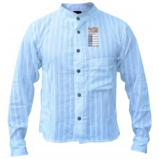 White Full Button Stripey Grandad Shirt