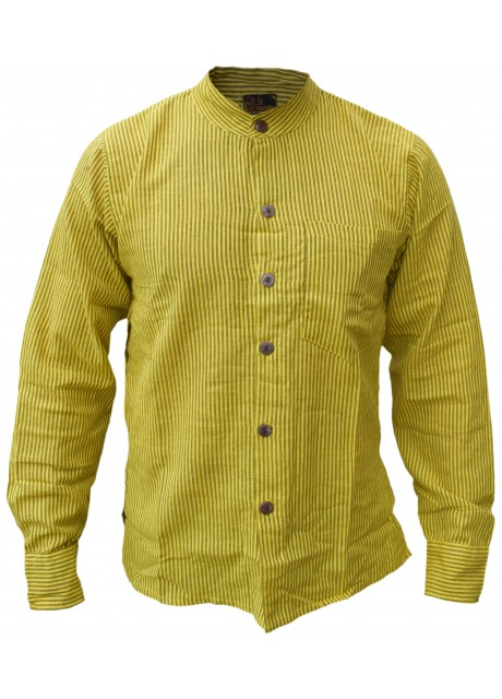 Yellow Full Button Collarless Shirt