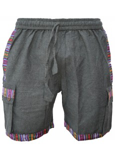 Cotton Edge Patchwork Shorts Grey