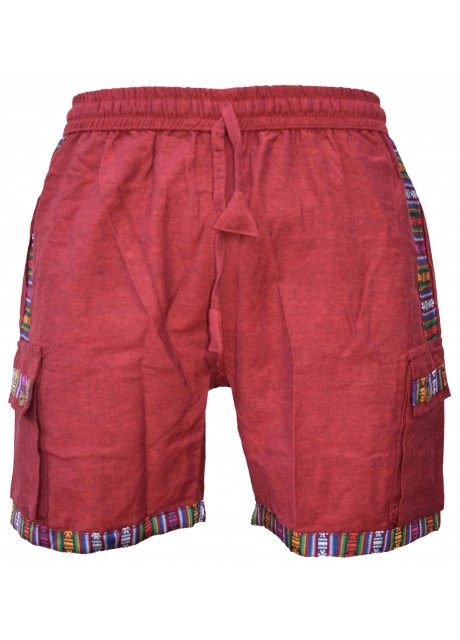 Cotton Edge Patchwork Shorts Maroon