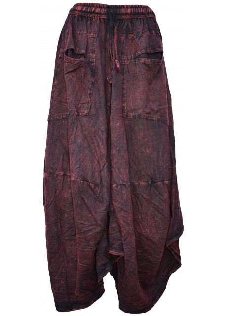 Distressed Open Pocket Hi Low Cotton Skirt Maroon Stonewashed