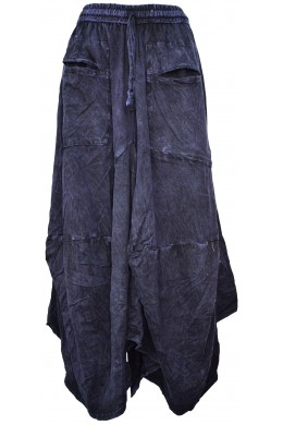 Distressed Open Pocket Hi Low Cotton Skirt Purple Stonewashed