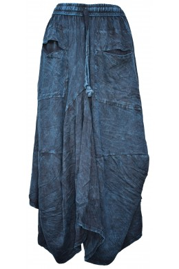 Distressed Open Pocket Hi Low Cotton Skirt Turquoise Stonewashed