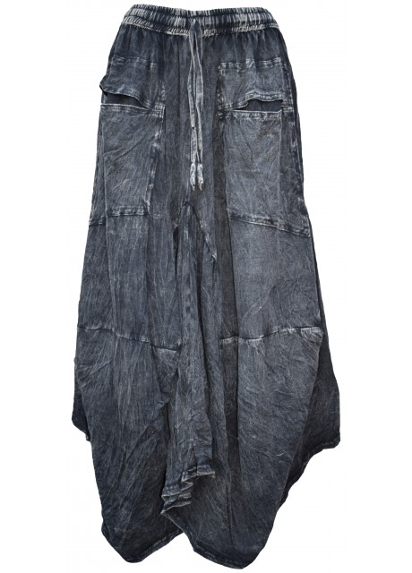 Distressed Open Pocket Hi Low Cotton Skirt Black Stonewashed
