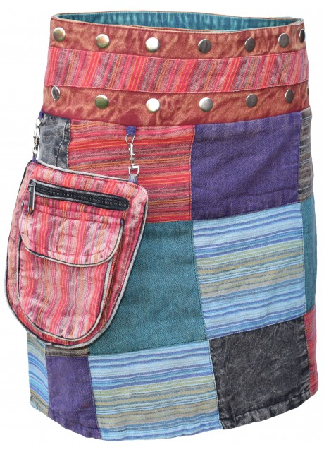 Cotton Patchwork Reversible Boho Popper Skirt Multicolored A