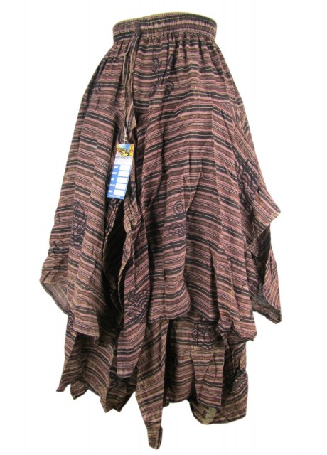Double Layered Brown Stonewashed Skirt