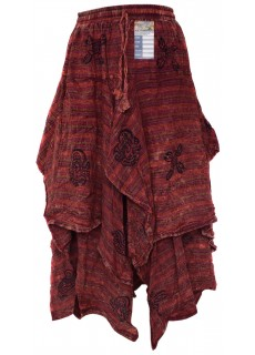 Double Layered Red Stonewashed Skirt