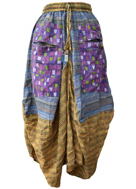Two Pocket Green/Purple Long Summer Skirt