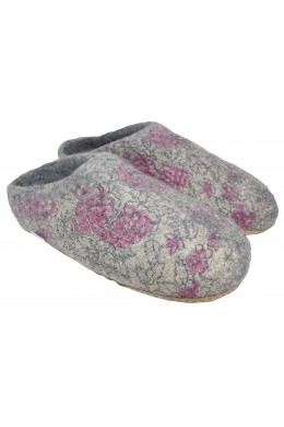 Home Indoor Mule Wool Felt Slippers Grey