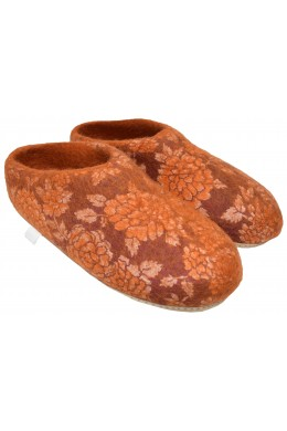 Home Indoor Mule Wool Felt Slippers Orange
