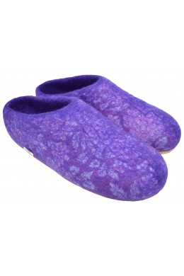 Home Indoor Mule Wool Felt Slippers Purple