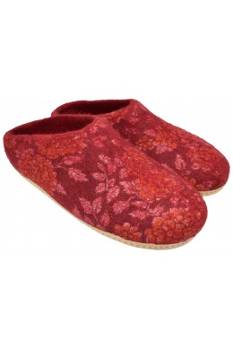 Home Indoor Mule Wool Felt Slippers Red