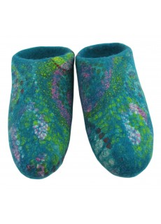 Petrol Blue Felt Slippers