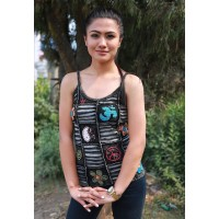 OM Patchwork Black Tank Top