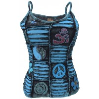 OM Patchwork Blue Tank Top