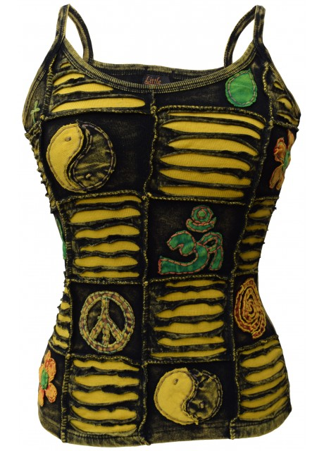 OM Patchwork Yellow Tank Top
