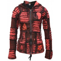 Om Ying Yang Patchwork Ribs Hoody Red