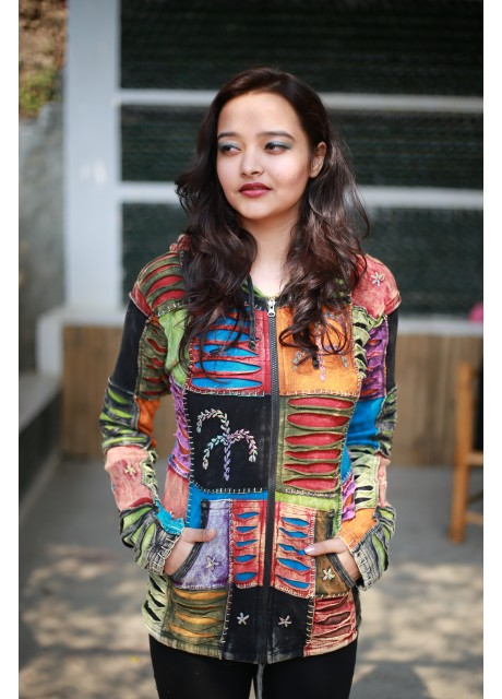 Pixie Hood Embroidery Patch Ribs Hoody