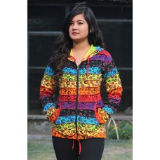 Bubble Print Psychedelic Ribs Hoody