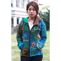 Blue Pixie Hood Patch Ribs Hoody