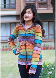 Rainbow Stonewashed Ribs Hoody
