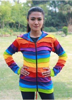 Rainbow Stripey Ribs Hoody